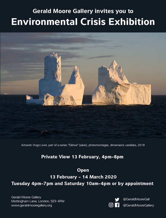 Environmental Crisis Exhibition private view invitation - Science and Art at the Gerald Moore Gallery